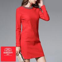 女连衣裙韩版微胖女装订珠藏肉直筒裙子200斤加肥加大码春秋冬装
