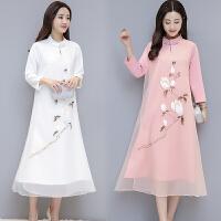 长袖连衣裙秋冬新款民族风女装长款假两件中国风复古文艺裙子