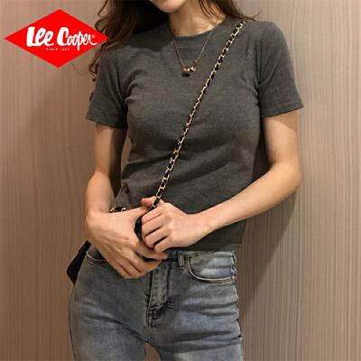 Lee Cooper春夏新款短袖女t恤修身紧身潮短款上衣半袖打底衫舒适个性女式t恤