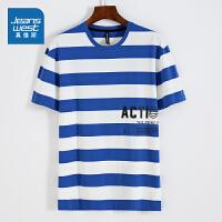 [限时抢价格:39.9元,限5月12日-5月30日]真维斯男装 夏装新款 织间密根拉架圆领印花短袖T恤