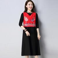新款民族风棉麻短款女装刺绣唐装小上衣中式复古绣花马甲 红色