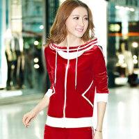 秋季大码韩国金丝绒天鹅绒休闲 运动套装 女款春秋长袖新款