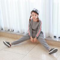 2019 韩版童装秋冬新款女童卫衣+长裤加绒加厚套装中大运动套装 灰色