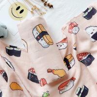 新生儿双层纱布竹棉襁褓巾包被宝宝小猪包巾毯子婴儿抱被夏季M 120x120cm