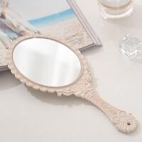 高清手柄化妆镜手拿手持美容院化妆镜子便携随身牙科复古花边镜