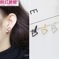 韩版饰品气质双三角形简约个性金属无耳洞耳夹耳钉耳环女耳饰配饰