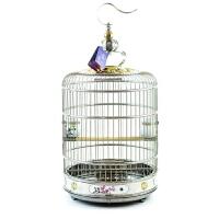 不锈钢鸟笼画眉虎皮鹩哥八哥金属圆形鸟笼子鹦鹉特大号养殖笼