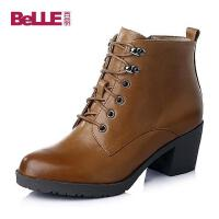 Belle/百丽专柜同款油蜡牛皮女靴BIP44DD5