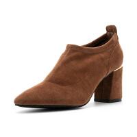 星期六(ST&SAT)秋季绒面羊皮高跟尖头气质单鞋SS83112315