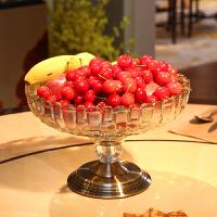 现代欧式实用客厅餐桌茶几创意大号水果盘玻璃水晶家居装饰品摆件 深E121节节高玻璃果盘(高200mm口径280m