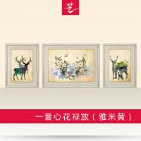 欧式装饰画客厅沙发背景三联画简欧风格美式抽象温馨现代简约墙画SN1717 单幅(中间78*60) 纯手工双框装裱+油画