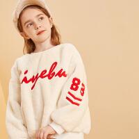 【2件3折:95】巴拉巴拉旗下巴帝巴帝女童卫衣19年秋冬新时尚儿童毛绒加厚保暖上衣