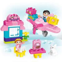 儿童益智启蒙拼装玩具兼容�犯叽罂帕;�木男女孩宝宝拼插飞机模型