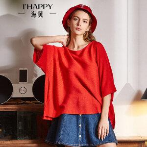 海贝2018春季新款女装上衣 纯色休闲宽松圆领套头七分袖针织衫