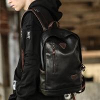 双肩包皮男士商务背包电脑包韩版大中学生书包休闲旅行包