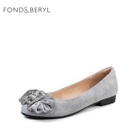 【3折再减80】Fondberyl/菲伯丽尔春季新款羊反绒浅口圆头女单鞋FB81111068