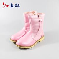 红蜻蜓童鞋女童中大童秋冬款棉靴直筒马丁靴