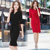 夏季连衣裙女新款韩版时尚显瘦中长款包臀褶皱职业装白领正装