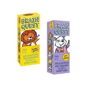 Brain Quest Ages 2-3-4-5-6 岁 Preschool 4盒 英文原版 大脑任务 美国学前全科练习 智力开发问答卡 亲子问答字卡