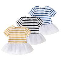 女童夏装坑条短袖公主裙子女宝宝夏季休闲连衣裙