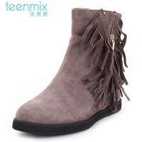 Teenmix/天美意 年专柜同款羊绒皮革女皮靴6C364DZ5 专柜2