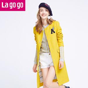Lagogo拉谷谷2016年冬新款立领字母贴布毛呢外套女中长款棒球服
