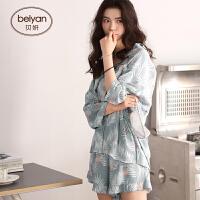 春夏季纯棉女士睡衣可爱卡通女人宽松家居服韩版开衫全棉套装 D1264 图色