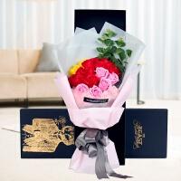 肥皂玫瑰花束仿真花情人节礼物送女友香皂花礼盒生日浪漫创意礼品 桔红色 1675大红康乃馨