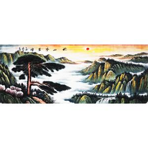 王晨辰《秋山苍翠图》省美协会员 有作者本人授权 1.8米12平尺