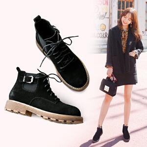 ZHR2017秋冬新款马丁靴女英伦风复古单靴粗跟短靴系带学生女靴子F56