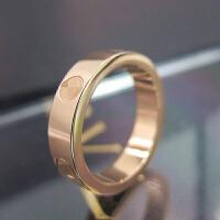 时尚玫瑰金戒指女黄金无钻镶钻指环情侣对戒love款节日礼物