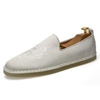 夏季潮鞋男士帆布鞋休闲懒人一脚蹬男鞋子老北京中国风布鞋亚麻鞋