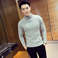 新款18秋冬款男士潮流半高领休闲毛衣套头韩版英伦修身青年休闲毛