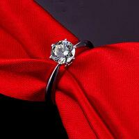 20180725021141504S925银饰品镀白金六爪求婚结婚仿真钻石宝石情侣戒指女钻戒