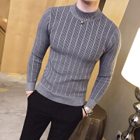地平线男装 秋冬半高领纹路打底衫潮修身针织毛衣时尚简约款 9色