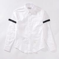 衬衫男士秋季新款条纹红白蓝府绸长袖男女生情侣装牛津纺修身长袖白色衬衣