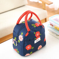 便当包手提包韩国小清新防水手拎饭包包带饭的手提袋可爱饭盒袋子 蓝色花语