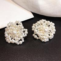 -日韩时尚复古优雅手工串珠珍珠花朵耳环个性夸张花朵耳钉耳环