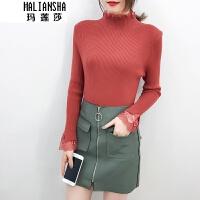 玛莲莎2018冬新款加厚毛衣女蕾丝花边高领套头长袖紧身针织打底衫