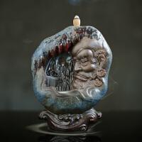 创意家居倒流香炉陶瓷摆件中式禅意大号紫砂室内家用茶道沉香薰炉