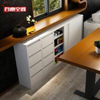 百意空间定制餐边柜推拉带门组合厨房柜子餐厅餐柜阳台储物柜碗柜
