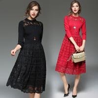 女装冬装新款潮名媛气质七分袖修身显瘦红色连衣裙0788