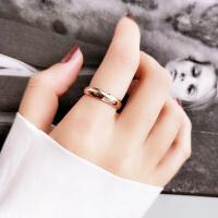 日韩国光面简约食指情侣戒指男女款镀玫瑰金潮指环小指尾戒子饰品