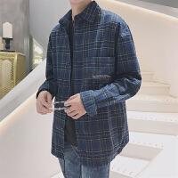 新款2018男士长袖男士个性长袖衬衫港风秋装日系复古格子衬衫潮流