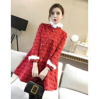 旗袍冬款加厚少女款改良少女2018新款女装甜美中国风连衣裙加厚中式唐装棉袄 红色