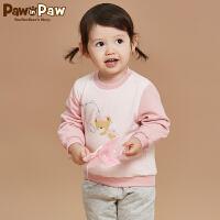 【秒杀价:90元】Pawinpaw宝英宝卡通小熊童装冬款男女宝宝圆领卫衣婴幼儿拼接长袖