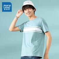 [限时抢价格:32.9元,限5月12日-5月30日]真维斯男装 夏装新款 圆领胸间印花短袖T恤