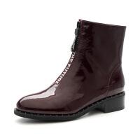 【大牌日3折】星期六(ST&SAT)冬季漆面牛皮革短靴SS84116055 黑色