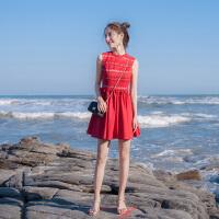2018夏季新款女装修身显瘦小礼服时尚气质蕾丝连衣裙蓬蓬裙夏裙子 红色