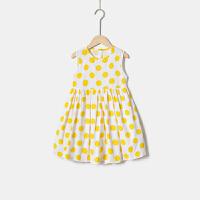 女童连衣裙夏季新款无袖背心裙女孩中大童圆点公主裙